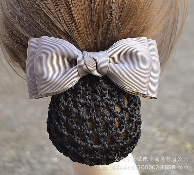 Women's Professional Head Flower Nurse Stewardess Hotel Bank Hairnet Decoration Fine Mesh Pocket Handmade Ribbon Bow FS058
