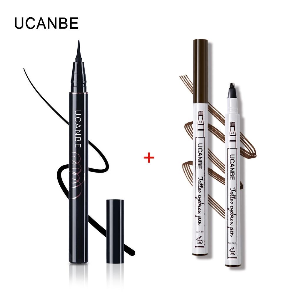 UCANBE 2pcs/lot Eye Makeup Set Black Liquid Eye liner Makeup Pencil + Eyebrow Pencil Waterproof Long-lasting Eye Liner Pen