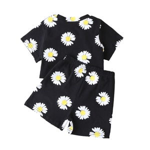 2021 Casual Clothes Set Toddler Baby Girls Suit Soft Sunflower Print Short Sleeve Tops+Shorts 2Pcs Summer Outfits