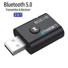 2020 Mini Draadloze Bluetooth Ontvanger Adapter V5.0 Audio Zender Stereo Bluetooth Dongle Aux Usb 3.5Mm Voor Auto Laptop Tv pc