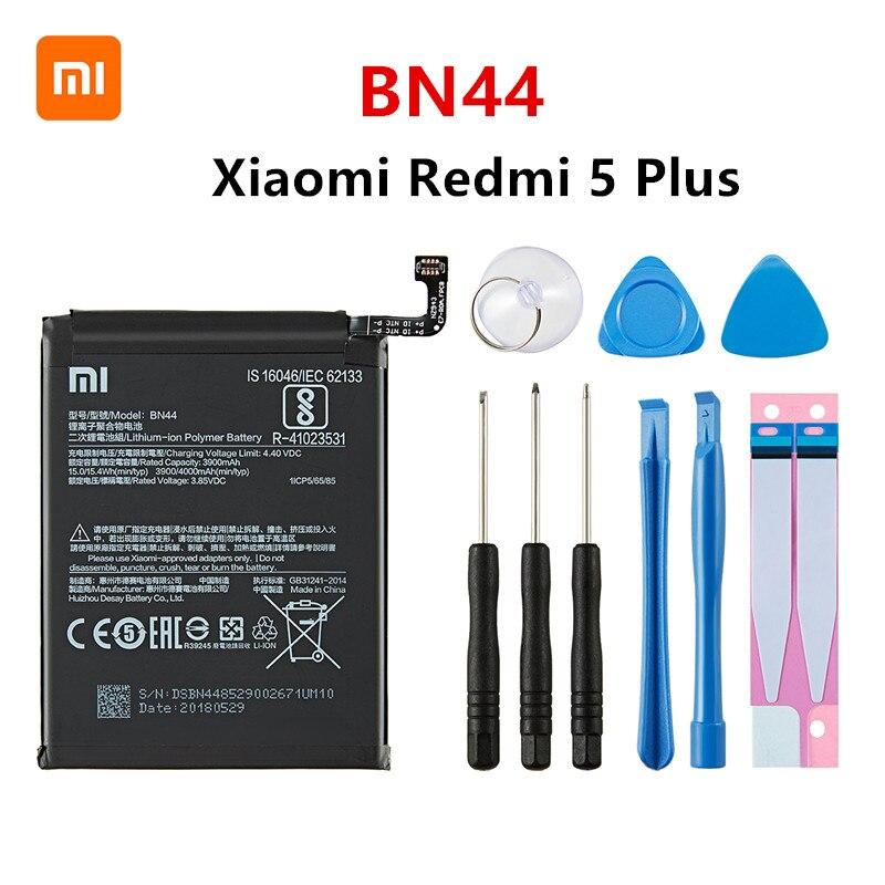 Xiao mi 100% Orginal BN44 4000mAh Battery For Xiaomi Hongmi Redmi 5 Plus BN44 High Quality Phone Replacement Batteries +Tools недорого