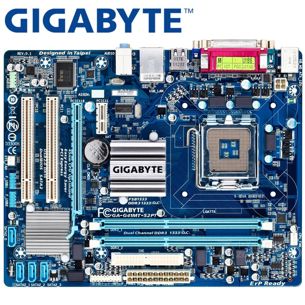 GIGABYTE GA-G41MT-S2PT placa base de escritorio G41 zócalo LGA 775 para Core 2 DDR3 8G Micro ATX Original usado