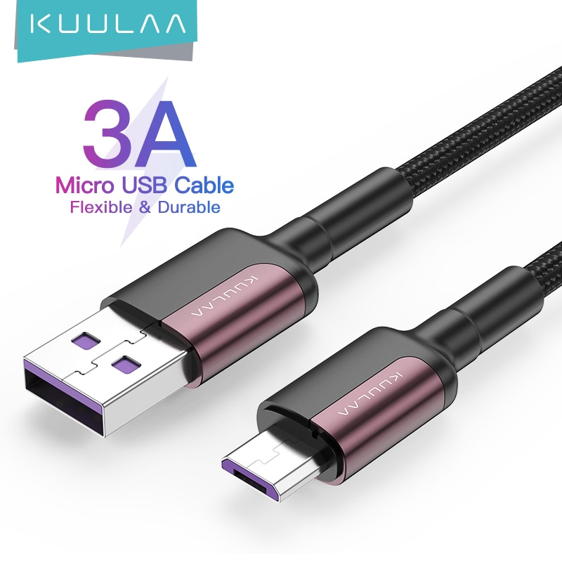 KUULAA Micro USB Kabel 3A Nylon Schnelle Ladung USB Daten Kabel für Samsung Xiaomi LG Tablet Android Handy USB ladekabel Handy-Kabel    -