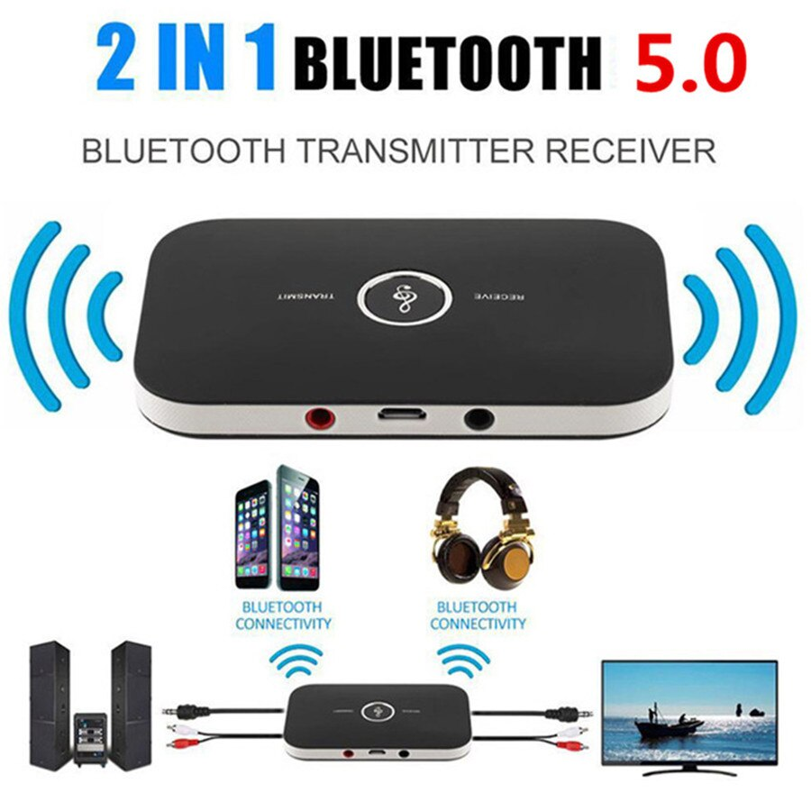 Bluetooth 5.0 Audio Transmitter Receiver 2 In 1 3.5mm Jack RCA Stereo Music Wireless Adapter For Car