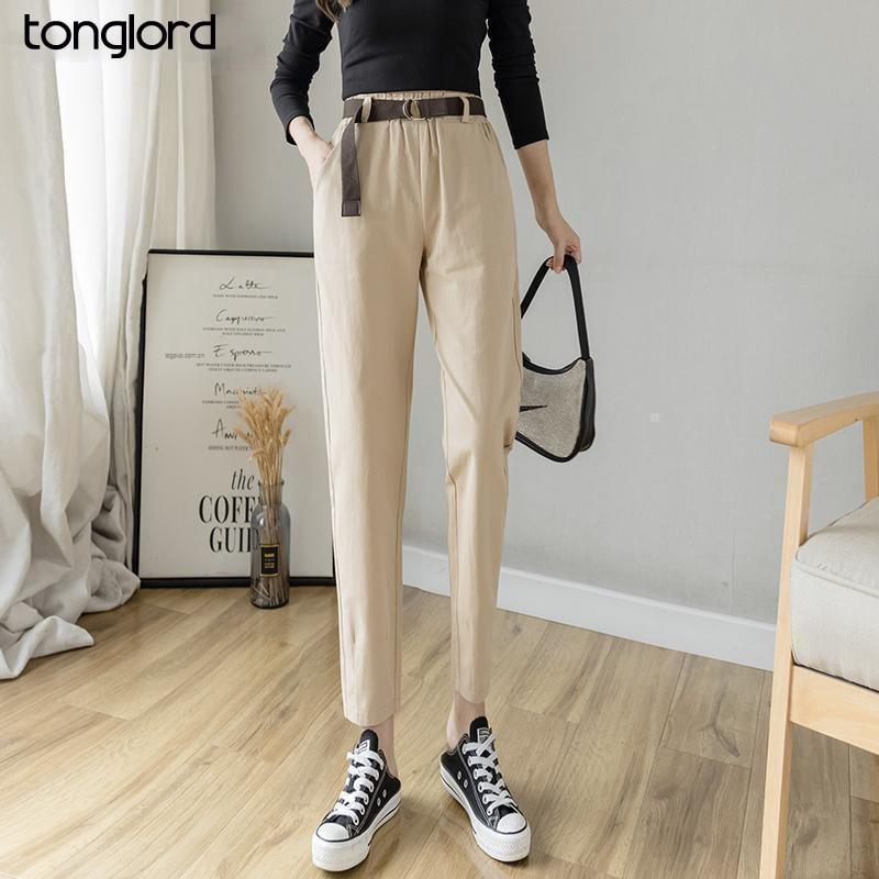2021 Spring Summer Women Cargo Pant With Belt Female Casual High Elastic Waist Cropped Harem Pants Mujer Pantalon Trousers New