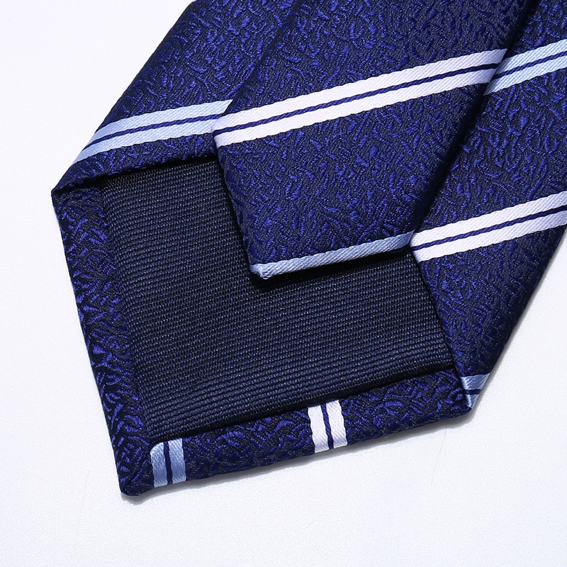 High Quality 2020 Designer New Fashion White Striped Royal Blue 8cm Ties for Men Necktie Work Business Formal Suit with Gift Box