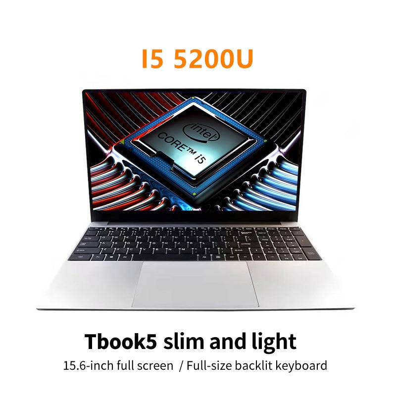 Promo Intel Core I5-5200U 15.6 Inch 8G RAM 128G/256G SSD Metal Laptop Portable Business Office PC Computer New Gaming Netbook Students