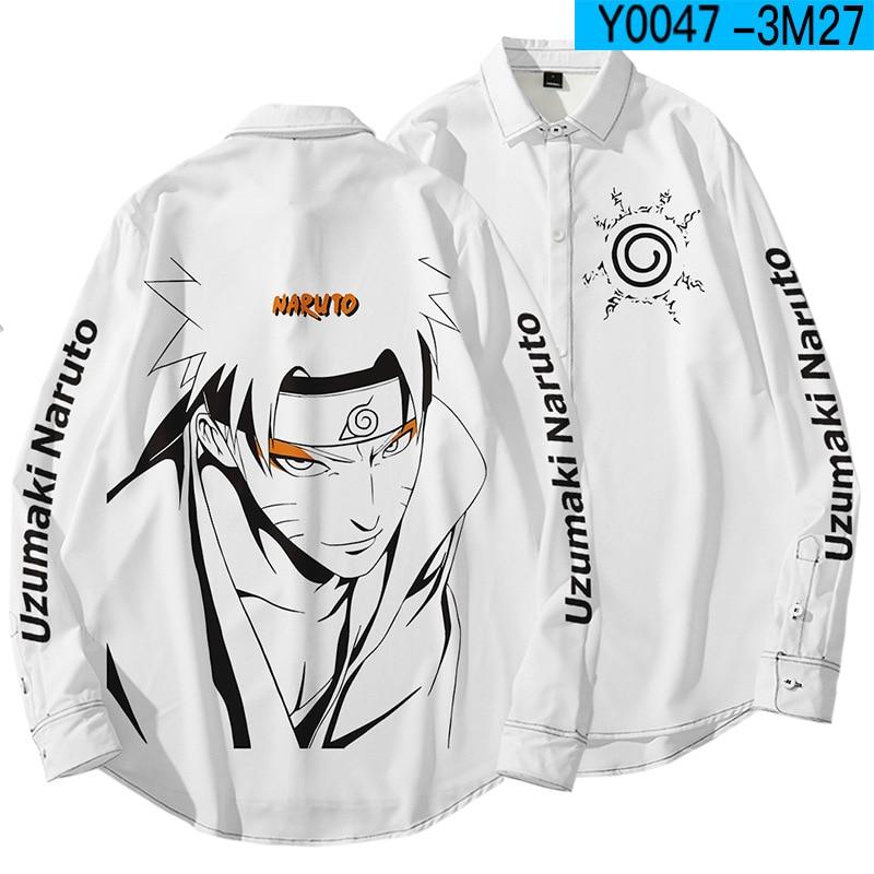 Camiseta de manga larga holgada informal de talla grande para hombre y mujer con dibujos animados de Anime Naruto Hatake Kakashi Uchiha Itachi Camisa estampada