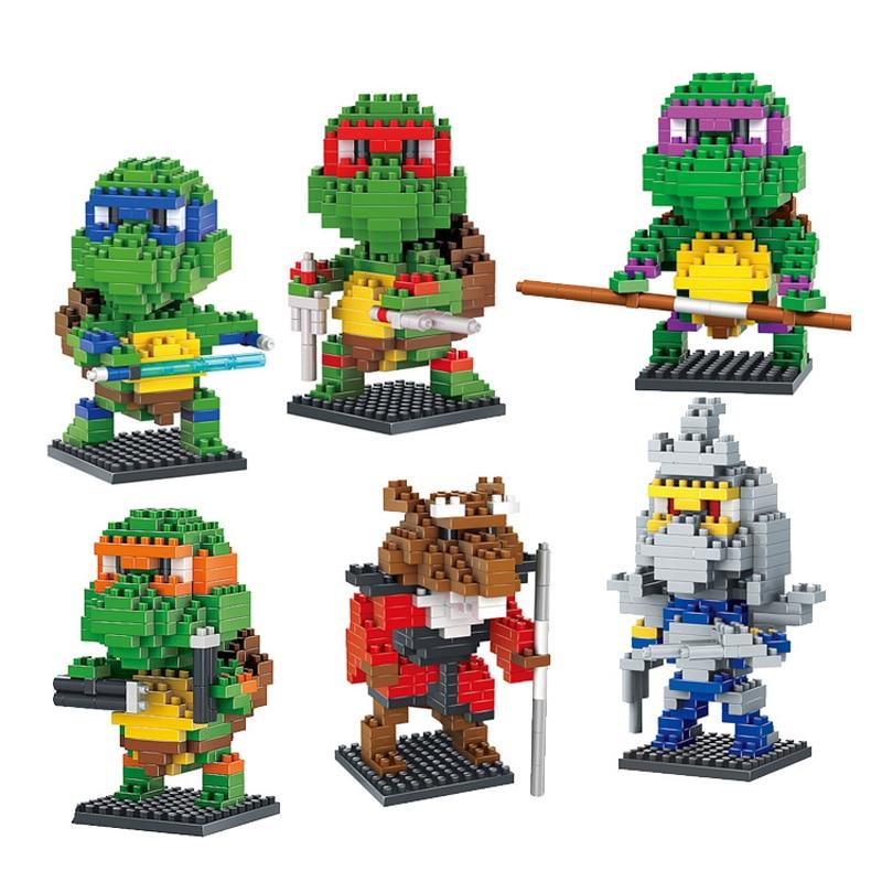 6 Pcs Figuur Leonardo Raphael Michelangelo Donatello Splinter Shredder Turtles Stripfiguren Bouwstenen Speelgoed Ksz723