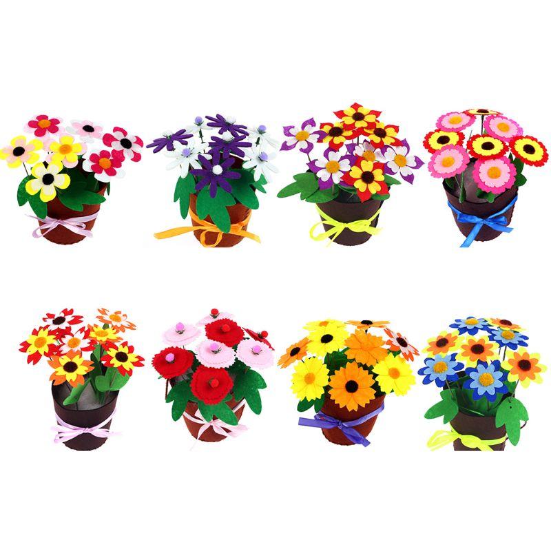Diy brinquedo de feltro brinquedos criativos para crianças crianças artesanato educacional diy vaso de flores vaso de plantas