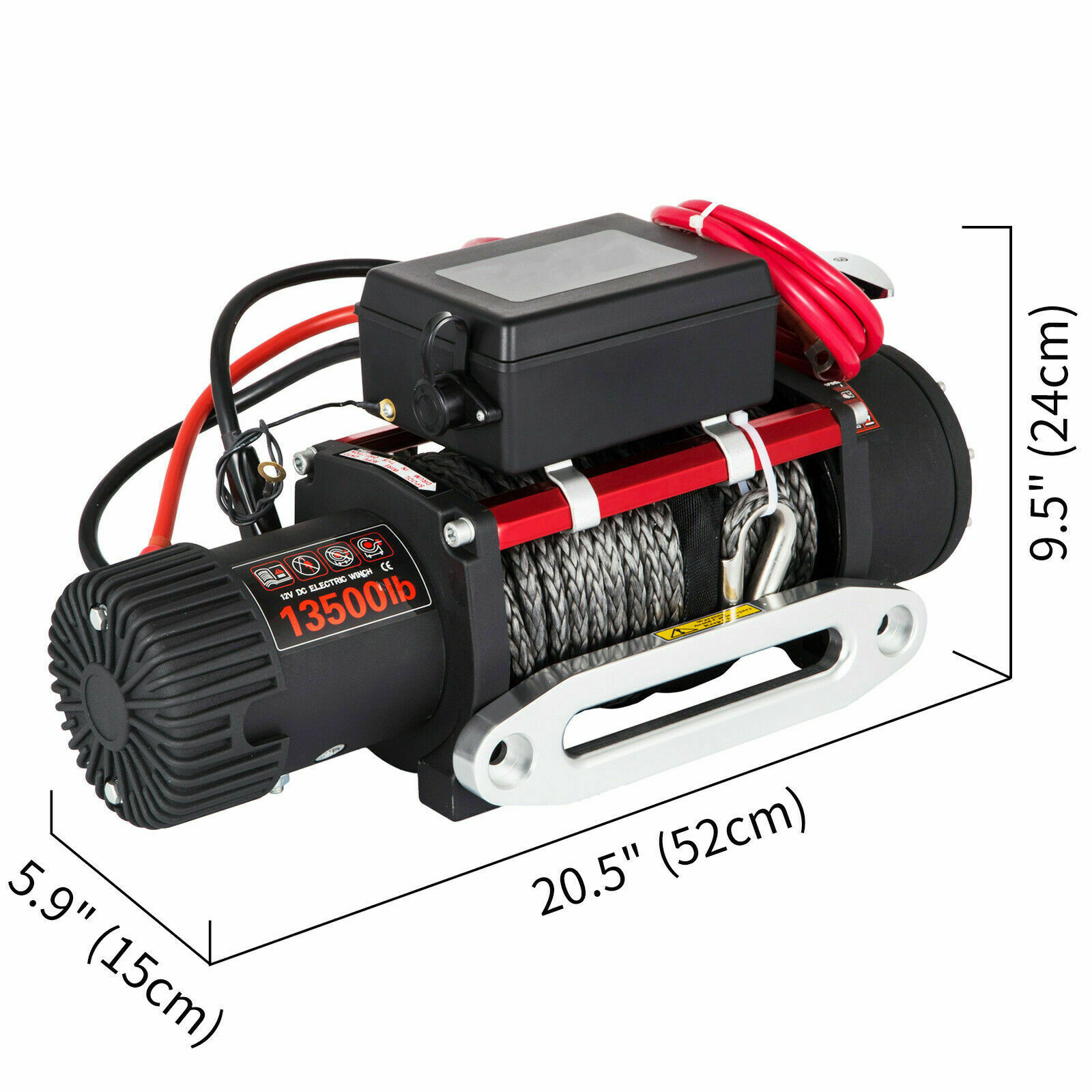 12V Electric Winch 27M Synthetic Rope 2 Wireless Control, for ATV SUV Boat Truck Trailer Recovery Off Road 13500LBS