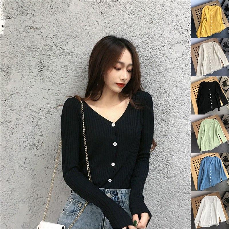 New Korean Contrast Color V-neck Wild Long-Sleeved Knit Cardigan
