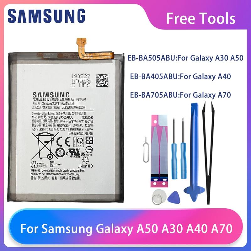 Original Samsung Galaxy A30 A30S A50 A505F SM-A505F A505FN/DS A40 A405 A70 A705 SM-A705 A705FN SM-A705W Phone Battery Free Tools
