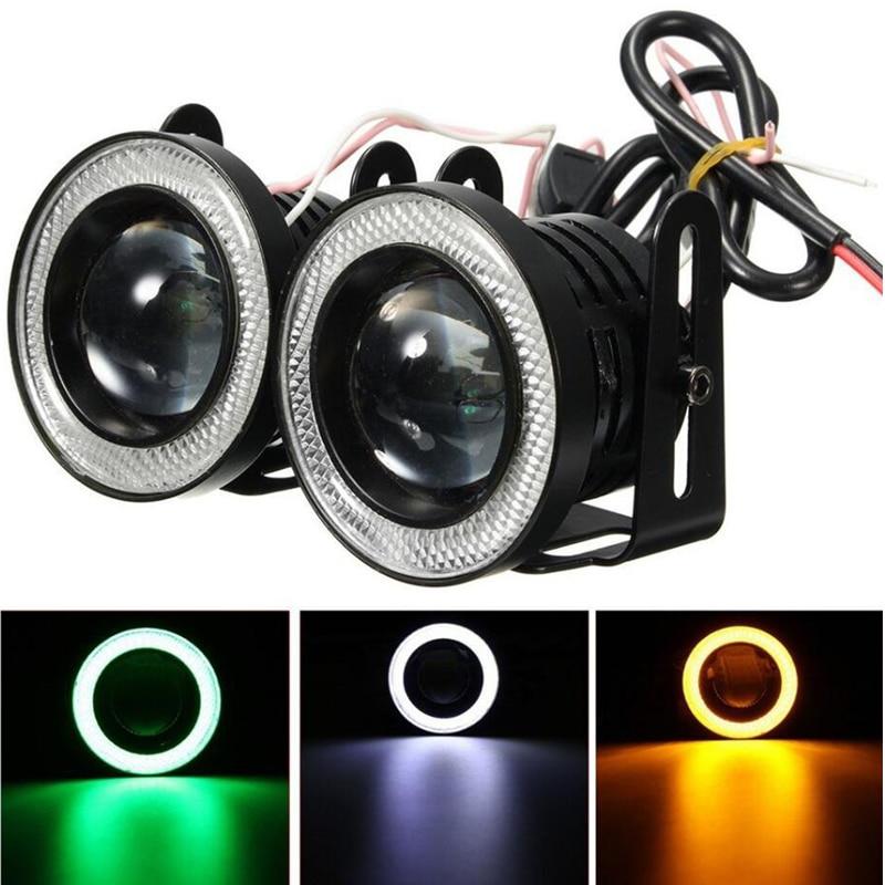 "Universal2 Pcs Car Fog Light LED With Lens COB Angel Eyes Lamp 2.5"" 3.0"" 3.5"" 64mm 76mm 89mm 12V Auto Universal DRL Driving Bulb"