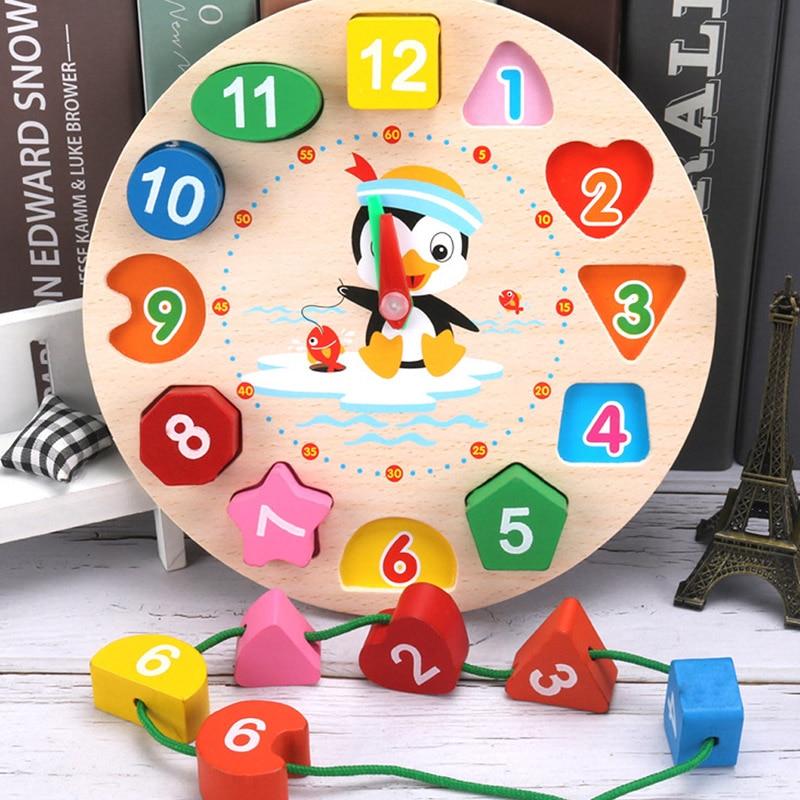 1Pcs Penguin Pattern Toy Clock Cute Cartoon Preschool Baby Early Education Maths Toys Wooden Kids Clock Toys Gift