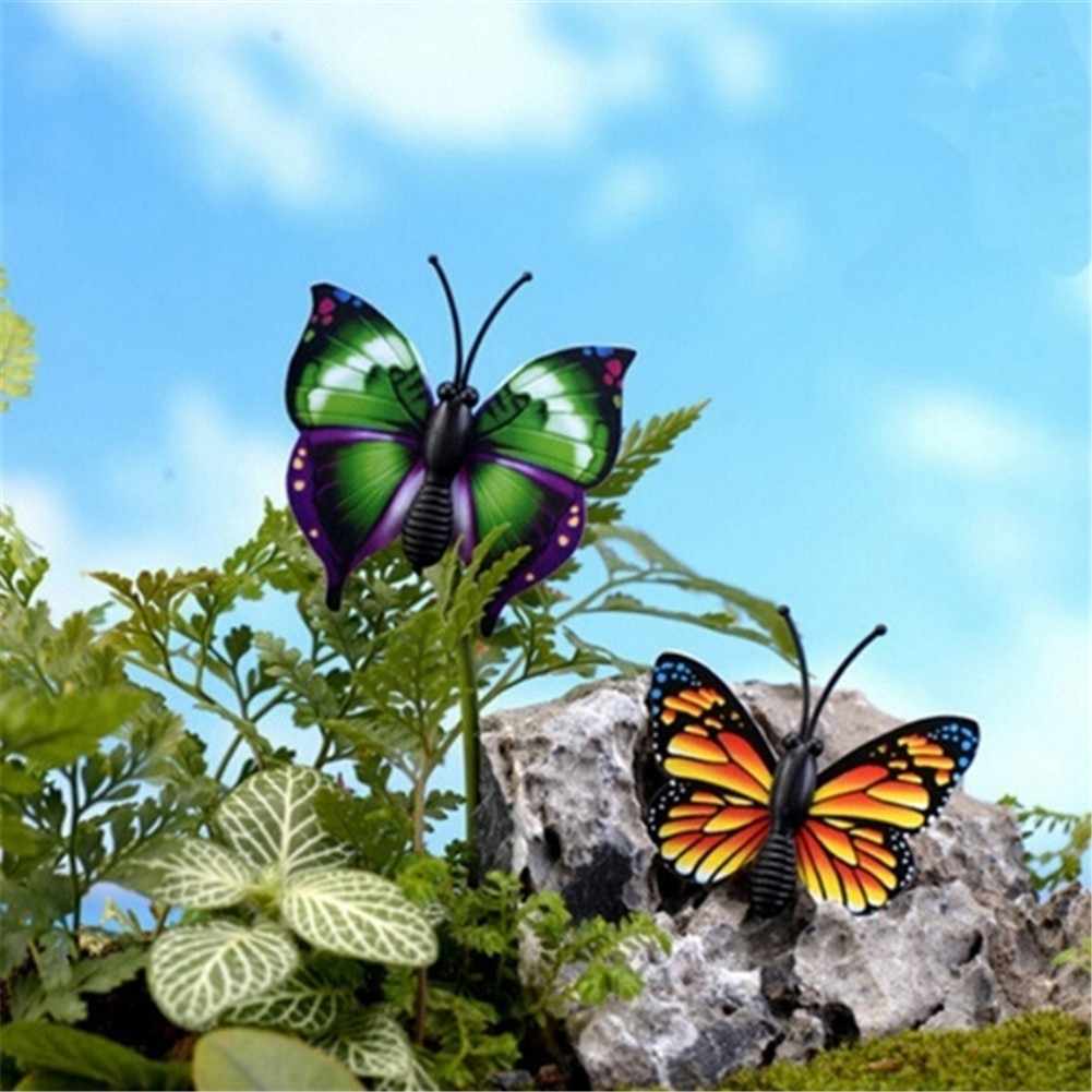 24Pcs Butterfly Stakes 7cm Garden Butterfly Stakes Decor Outdoor Yard Patio Planter Flower Pot Garden Decor