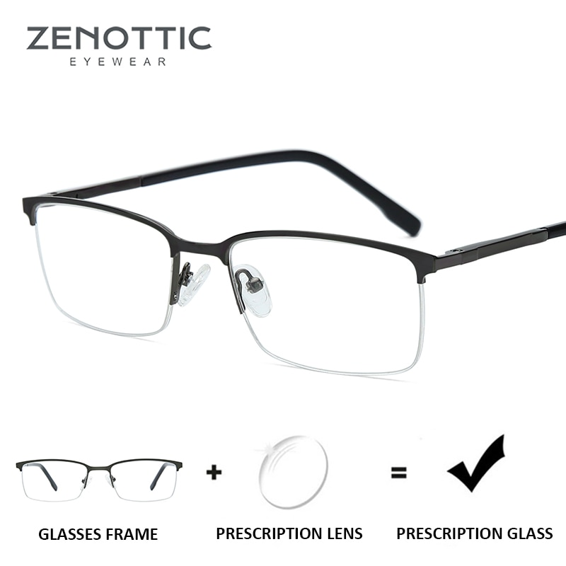 ZENOTTIC Alloy Semi Frame Prescription Glasses Men Anti-Blue-Ray Myopia Eyewear CR39 Lenses Optical
