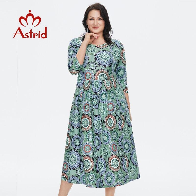 استريد المرأة فستان صيفي 2021 للنساء فضفاض بوهو عادية حجم كبير زهرة الشاطئ طباعة الحرير طويل الأخضر فساتين مع قلادة