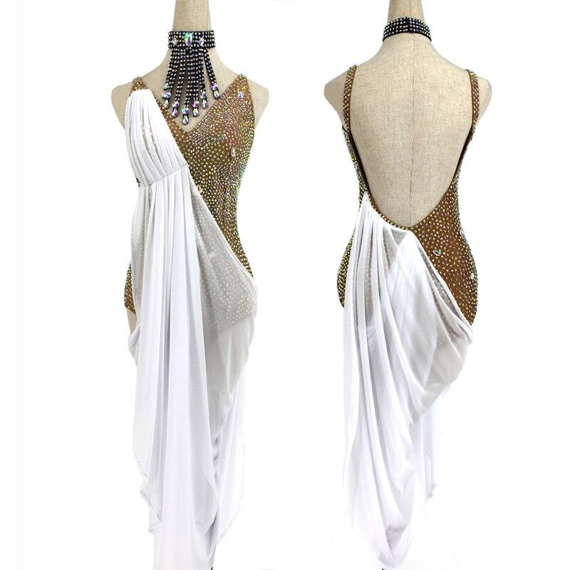 فستان رقص لاتيني ، زي مثير ، ظهر عاري ، أحجار الراين المتلألئة ، مسابقة التخرج ، التانغو ، السالسالسا ، Dancewear BL4517