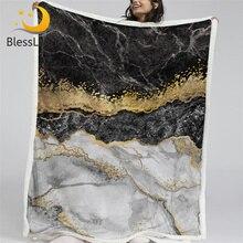 Manta polar De Sherpa BlessLiving con diseño De mármol, manta De Cama De papel De aluminio negro blanco dorado, manta De arte abstracto, Mantas De Cama