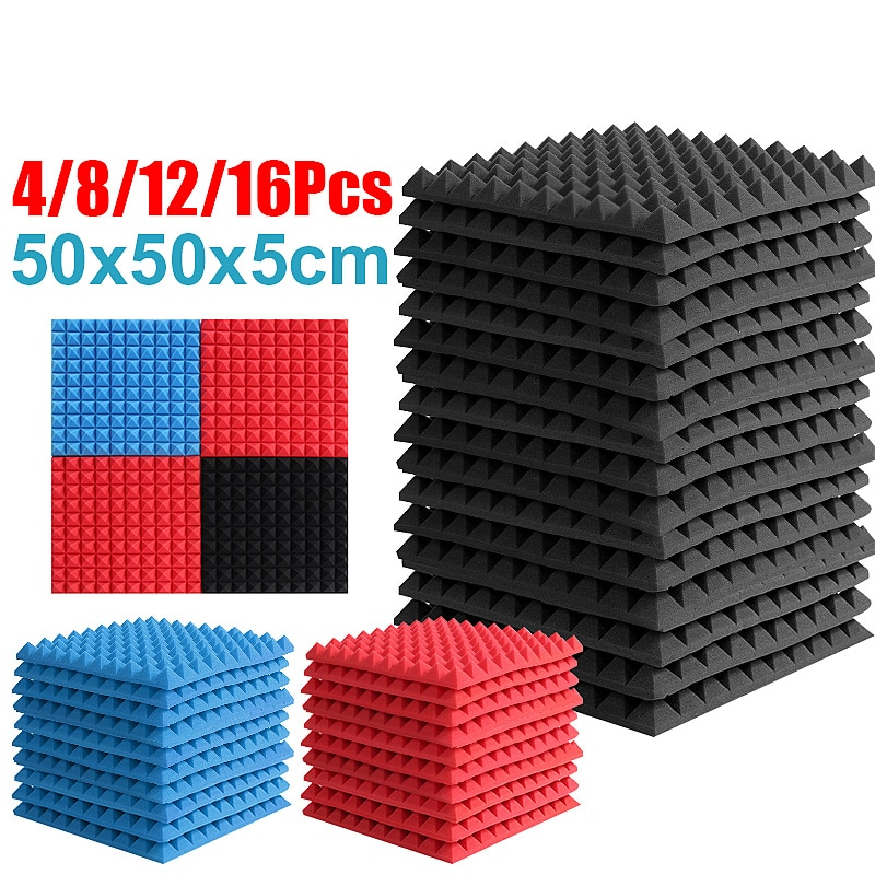 لوحة صوتية لامتصاص الضوضاء ، فوم ممتص للصوت ، 500 × 500 × 5 مللي متر ، 16 قطعة