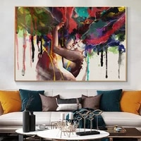 abstract couple hugging together love kiss oil painting on canvas posters and prints wall art pictures cuadros for living room