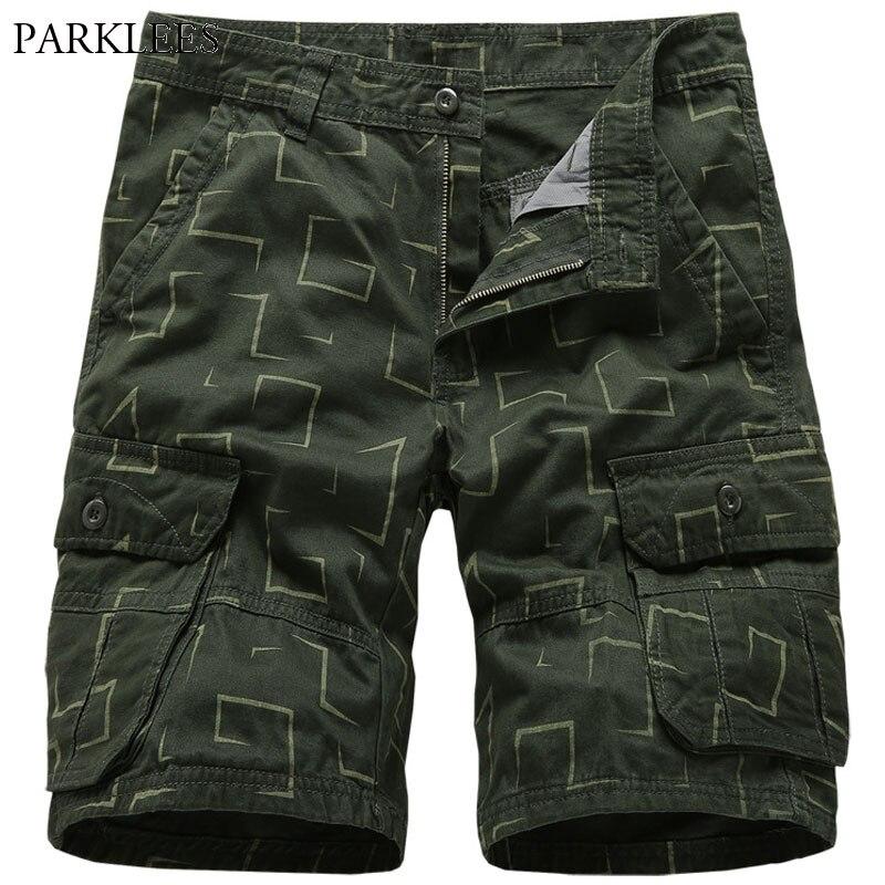 Летние мужские шорты-карго, 100% хлопок, штаны с принтом, свободная уличная одежда с карманом, одежда Bermuda masculina pantalon homme