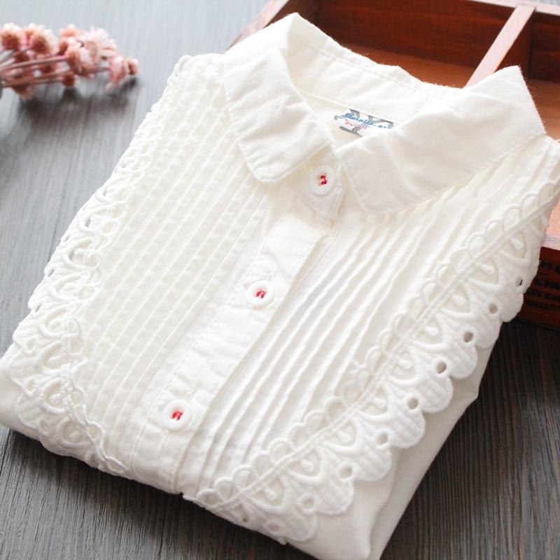 Camisa blanca sólida para niñas, Tops de primavera para niños, camisetas de moda 2020 de manga larga con volantes de encaje, camisetas escolares para niñas RT540