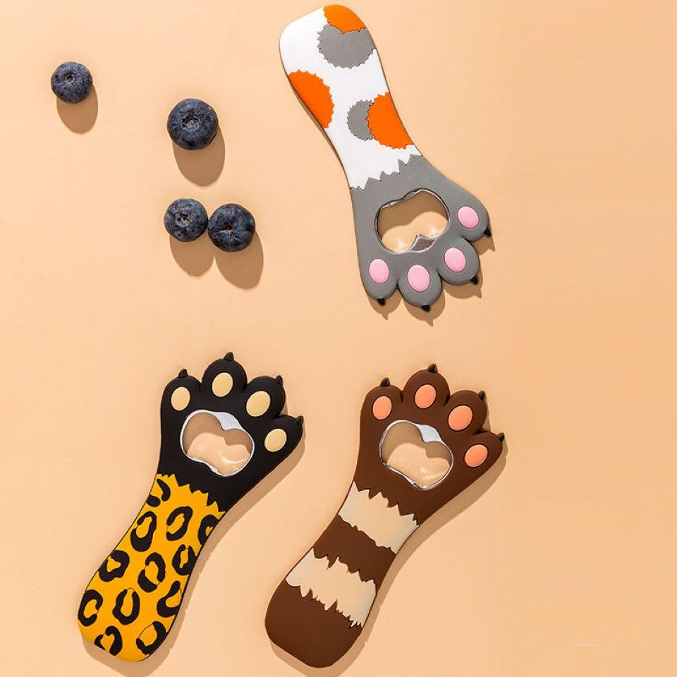 Cute Cat Paw Bottle Beer Opener Creative Portable Cartoon Magnet Refrigerator Sticker Cap Lifter Kitchen Gadgets