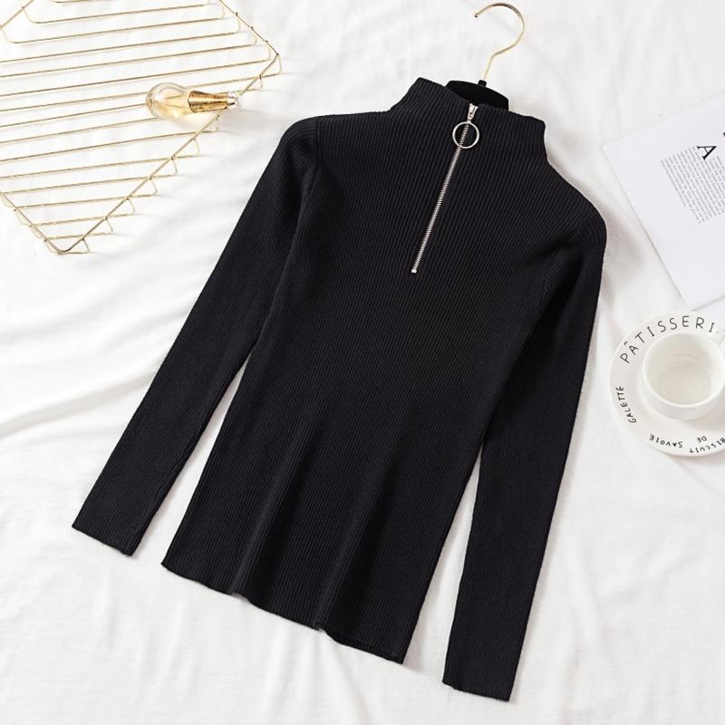 2019 nuevo suéter de invierno para mujer, camisa de manga larga, Cuello medio abierto, color sólido, acanalado, Jersey, camiseta, cuello alto