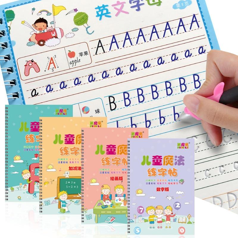 4 книги, Обучающие цифры на английском языке, художественная книга, детская книжка для каллиграфии, детская игрушка с буквами на английском ...