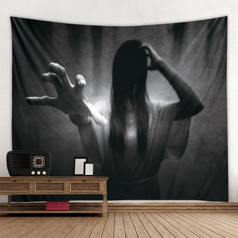 Sadako Horror Fantasma Japonês Da Menina do dia das bruxas Decoração Tapeçaria Decoração Decoração Tapeçaria Tapeçaria Hippie Boho Quarto Deco