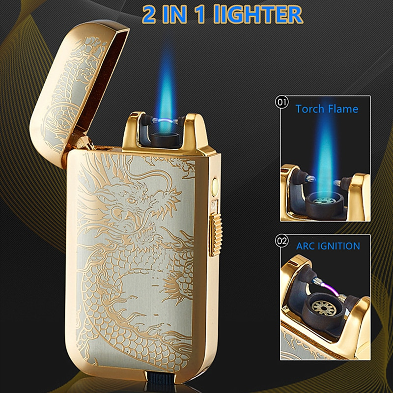 New Plasma Arc Lighter Windproof USB Recharge cigar,Cigarette gas Lighters 2 in 1 double flame refil
