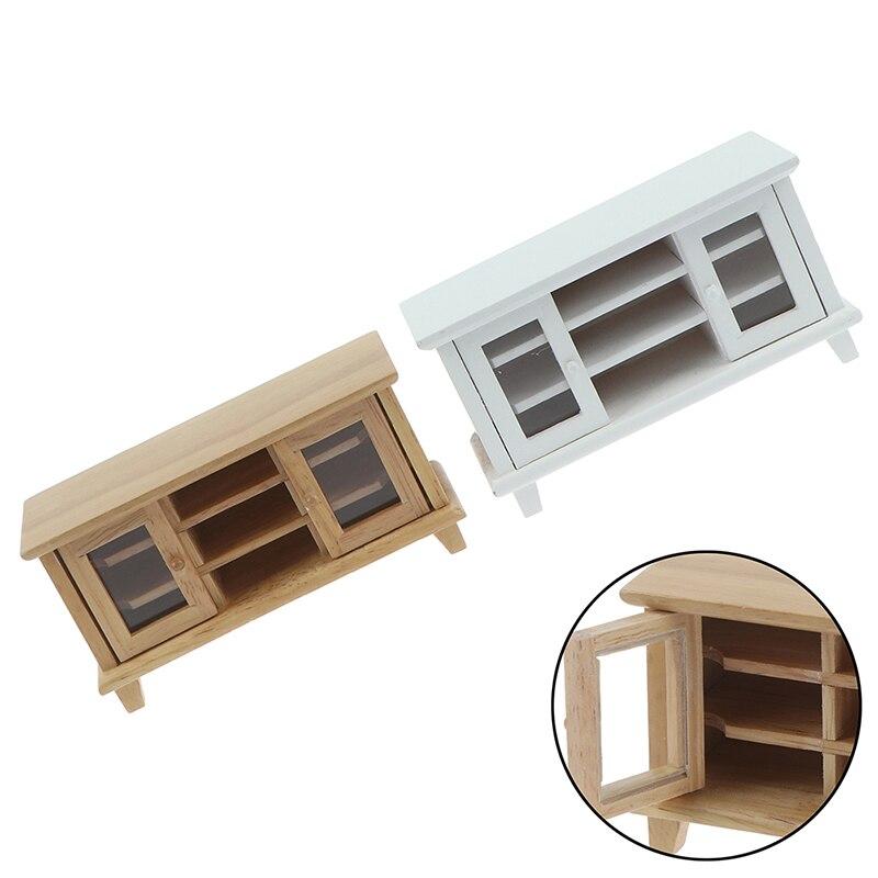 Кукольный домик, миниатюрный, ручной работы, 1/12 шкал, тумба под ТВ, стол, деревянные игрушки, мебель, кукольный домик