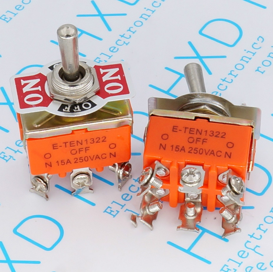 20 unids/lote E-TEN1322 (3 engranajes, 6 pies, 3 engranajes, 6 pies) doble Polo, doble tiro, interruptor basculante/interruptor de palanca de giro
