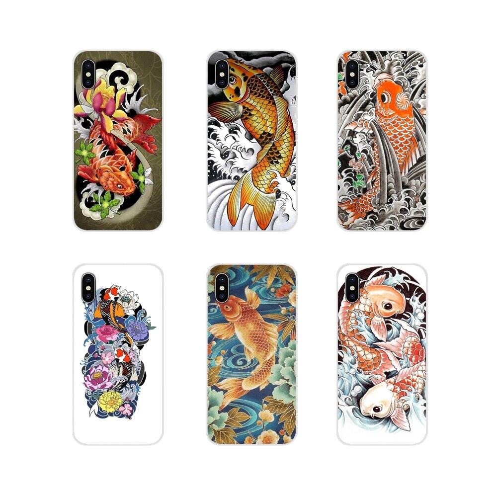 الهاتف المحمول قذيفة حالة اليابانية اليابان الوشم كوي الأسماك ل أبل فون X XR XS 11Pro ماكس 4S 5S 5C SE 6S 7 8 زائد بود تاتش 5 6