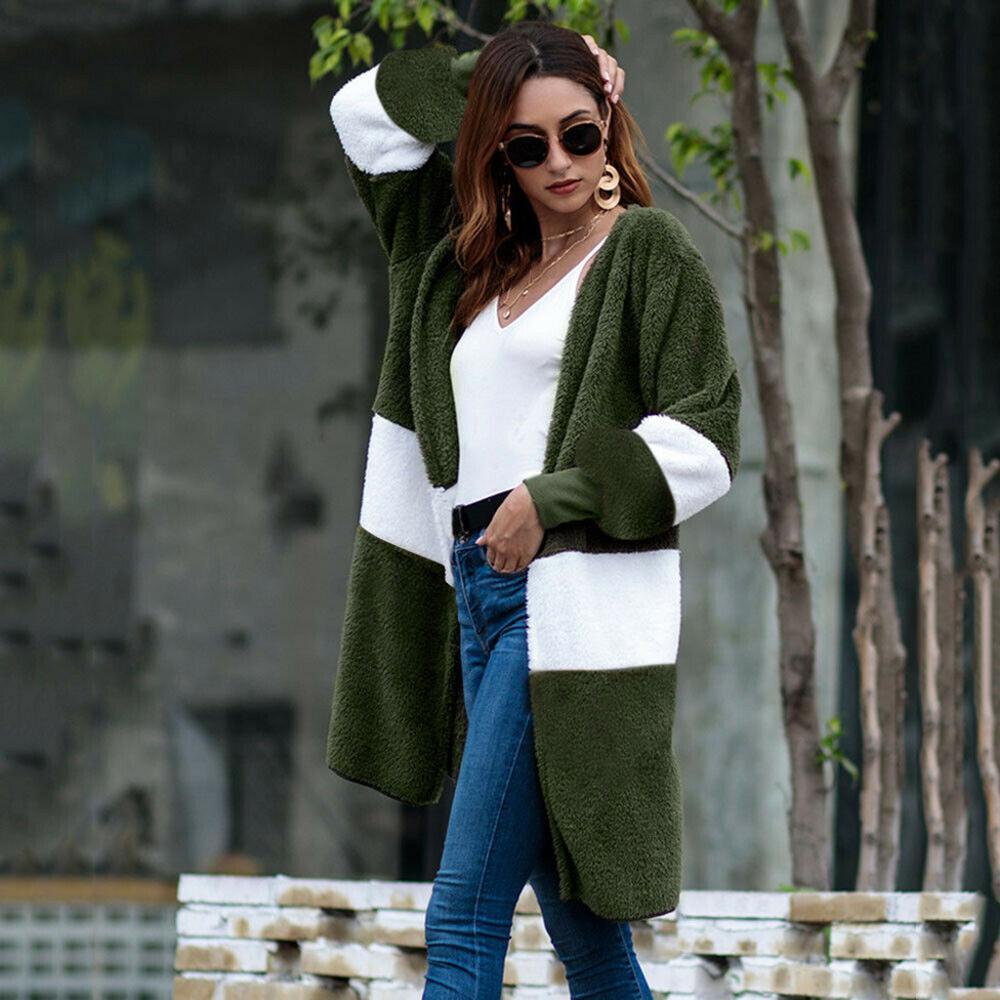 2019 moda Mujer Kimono largo invierno felpa blusa de pelo Casual de manga larga tejido de punto Patchwork cárdigans blusa abrigos Blusas Mujer