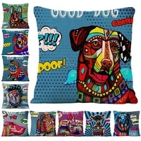 hand painted pop style dog pattern printed linen sofa cushion cover car living room bedroom office decoration pillowcases