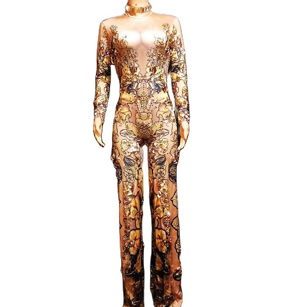 الذهب تألق الراين الترتر بذلة نمط الأزهار الطباعة السروال القصير شخصية أداء زي السيدات ملابس الحفلات
