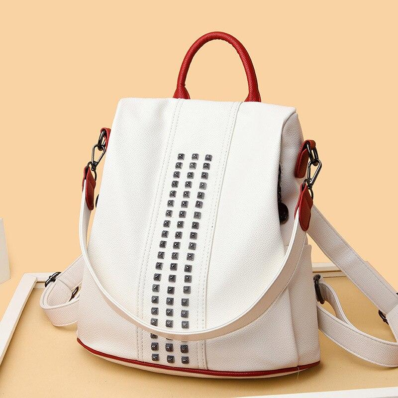 Женский рюкзак 2021, Сумка с защитой от кражи, сумка на одно плечо, Модный милый дорожный белый рюкзак, Женский школьный рюкзак