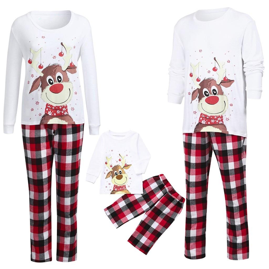 Elk-Pijama Familiar De Navidad para parejas, camiseta estampada, pantalones a cuadros, #...