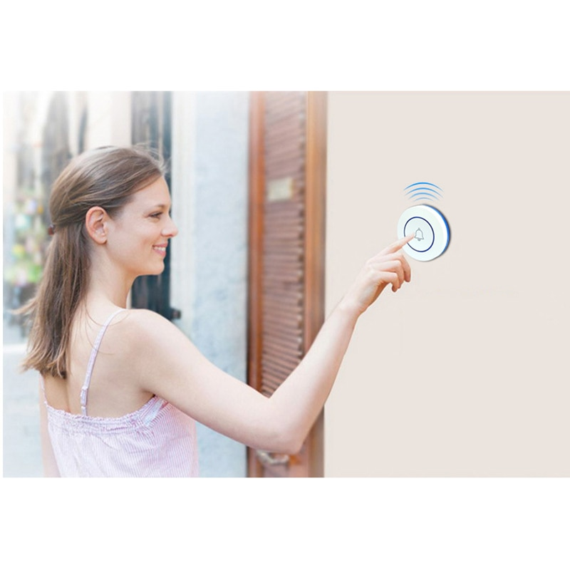 Wireless 433Mhz Doorbell Contact Button Home Security Welcome Smart Chimes Door Bell Alarm LED Light