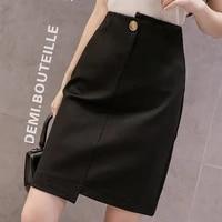 korean skirts womens summer women high waist black skirt plus size ol pocket bodycon skirts pencil skirt faldas mujer moda 2021