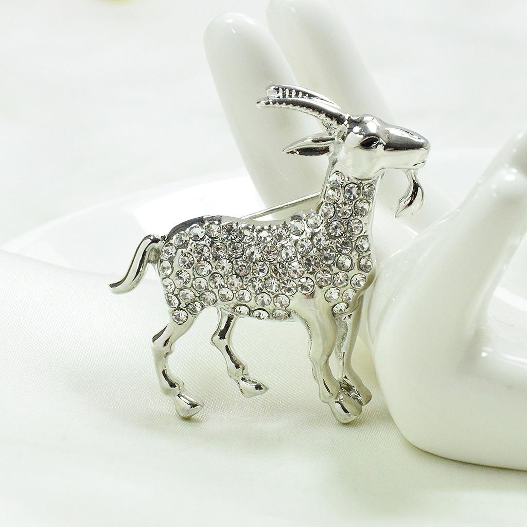 Elegant Crystal Goat Sheep Brooch Pin Fashion Animal Brooch Jewelry Gifts for Women Men