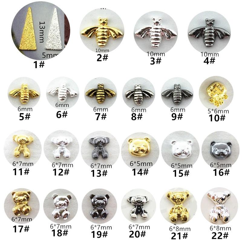 50 unids/pack Japón Metal decoración artística de uñas 3D Kawaii Triángulo de león Oso de partes de uñas DIY accesorios de aleación de suministros de uñas