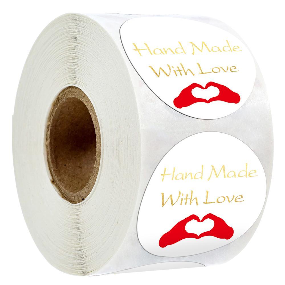500pcs/roll 1Inch DIY White Bronzing Hand Made Handmade With Love Label Wedding Stickers Adhesive Sticker Round Labels scrapbook недорого