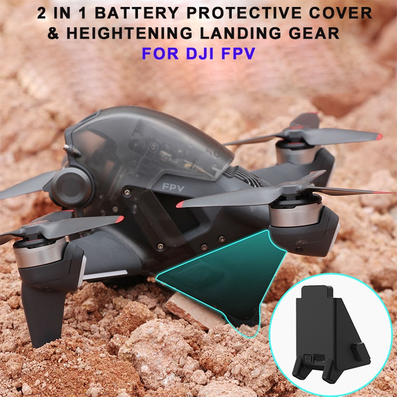 2-In-1 DJI FPV Drone Silicone Battery Protector Cover Height Extender Landing Gear For DJI FPV Drone Combo Drone Accessories