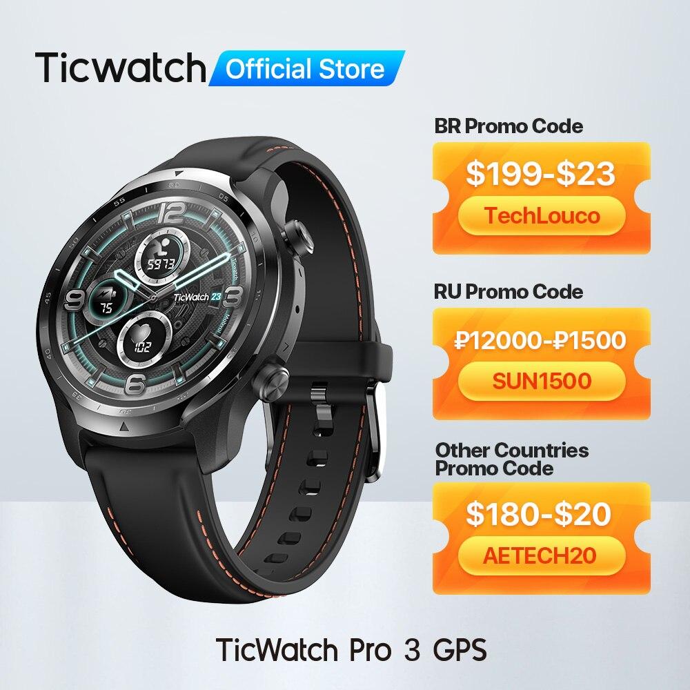 TicWatch Pro 3 نظام تحديد المواقع ارتداء OS Smartwatch للرجال الرياضة/ساعة ذكية طبقة مزدوجة عرض سنابدراجون ارتداء 4100 8GB 3 إلى 45 أيام البطارية