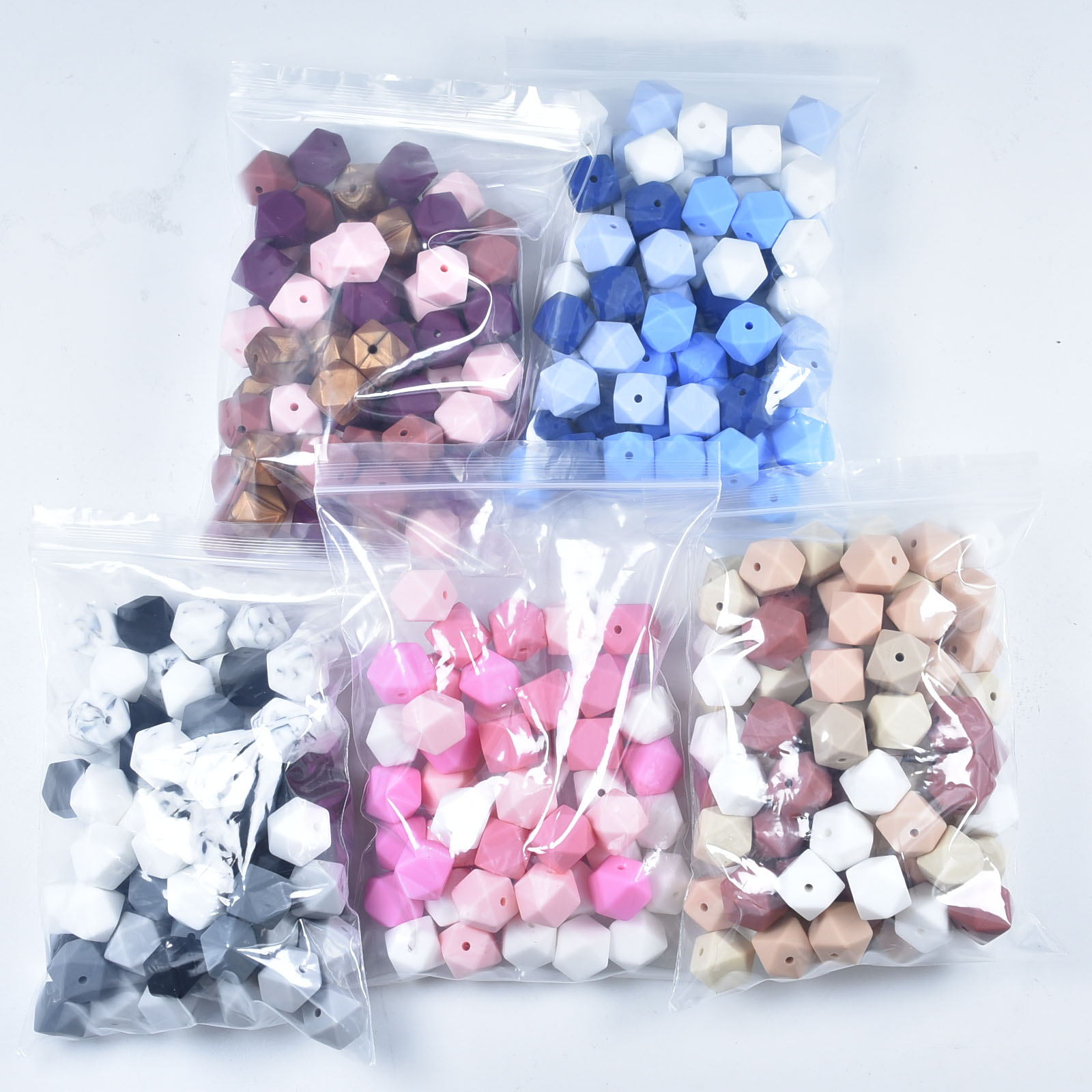 30Pcs/lot 14mm Hexagon Silicone Beads  For DIY Baby Pacifier Chain BPA Free Teething Baby Teether Ba