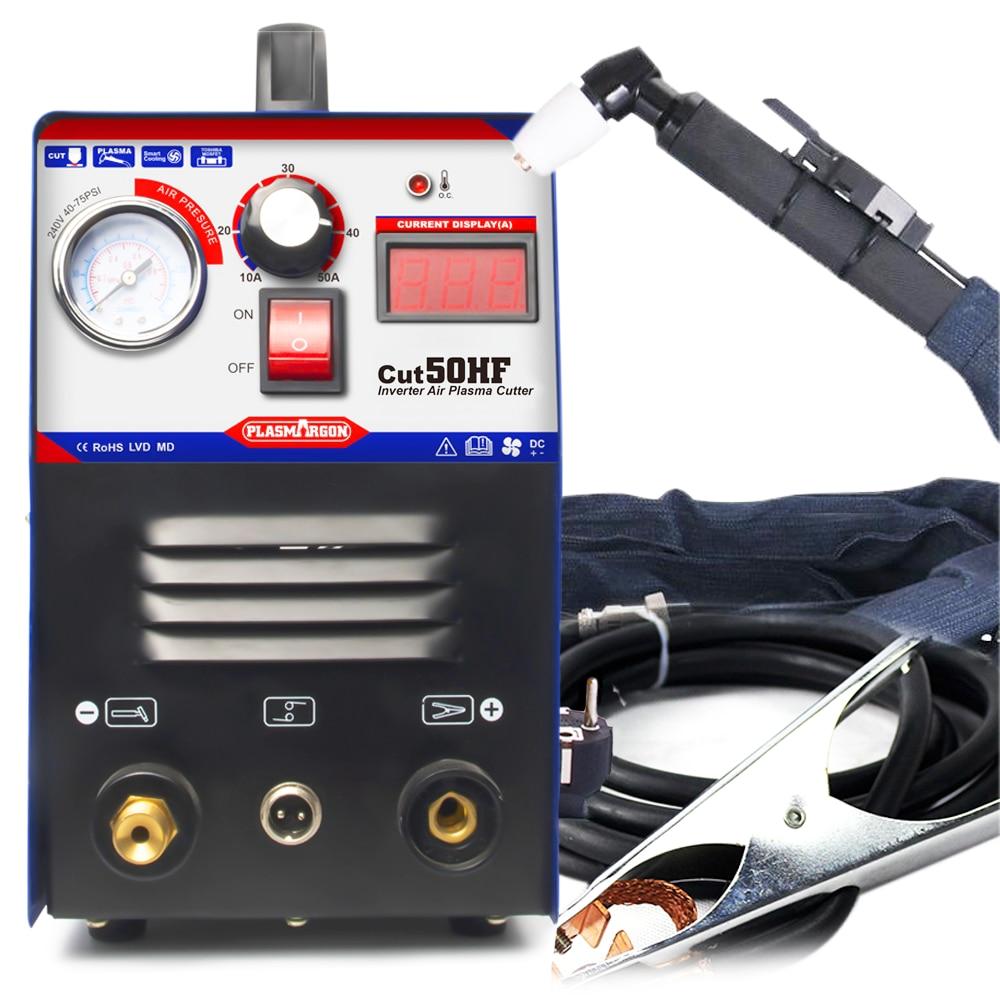 Plasmargon Cut 50 Plasma Cutter HF Cutting Device 10-50A 110/220v Cutter Machine Free Cutting Consumable Kit High Frequency
